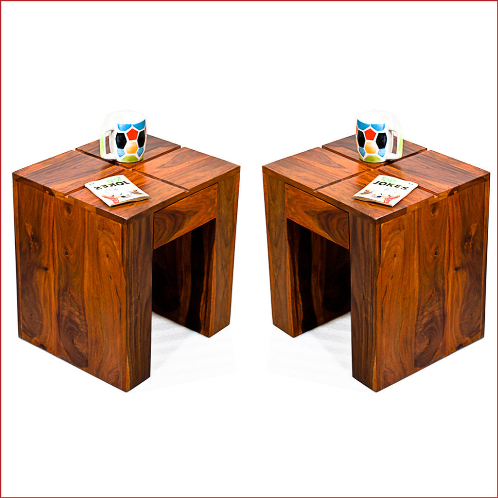 Ultramodern Artistry - Cento Teak - Pair of Side Tables - reference