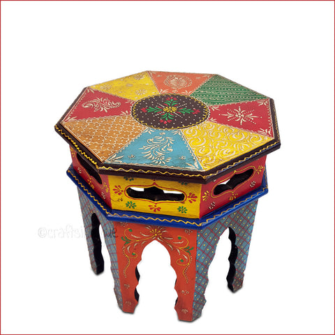 Colorful Ethnicity – Multicoloured Embossed side table - main