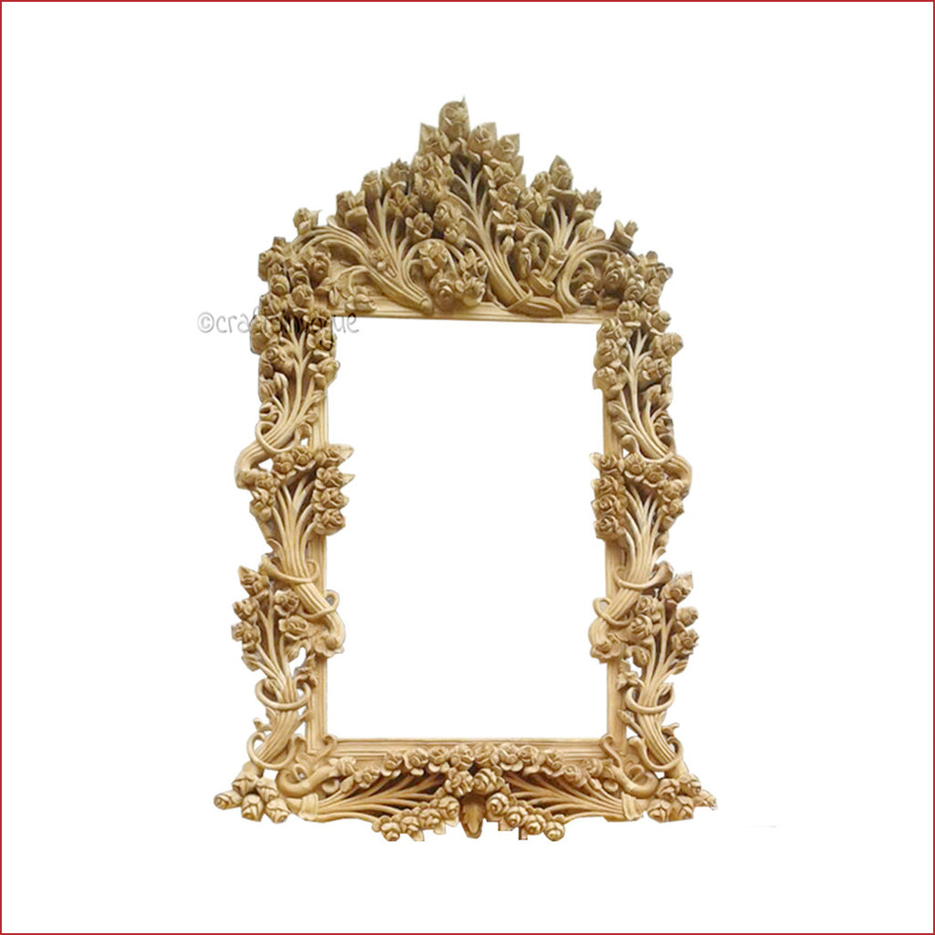 Crafts in Vogue - Bedazzling Adornment - Carved Wooden Wall Photo  Mirror Frame