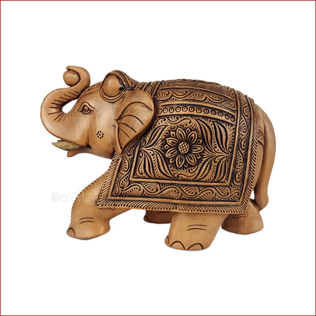 Majestic Salute - Carved Elephant sculpture - Crafts in Vogue