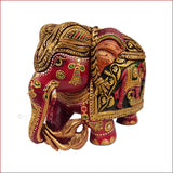 Kaleidoscopic Enchantment - Carved Multicolor elephant sculpture