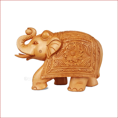 Step Towards Euthoria - Carved wooden Elephant - Main