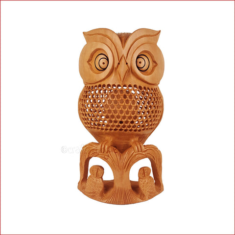 Watchful Eyes - Jaali Carved Owl Sculpture - Crafts in Vogue - Front