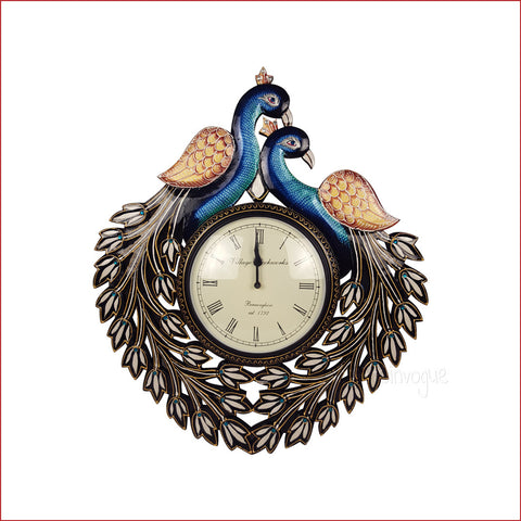 Euphoric Extravagance – dual peacock wall clock - front