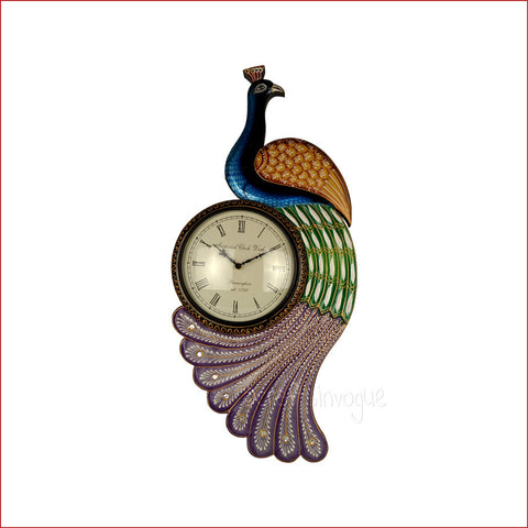 Crafts in Vogue- Classic Peacock Wall Clock Embellishment-colourful feather