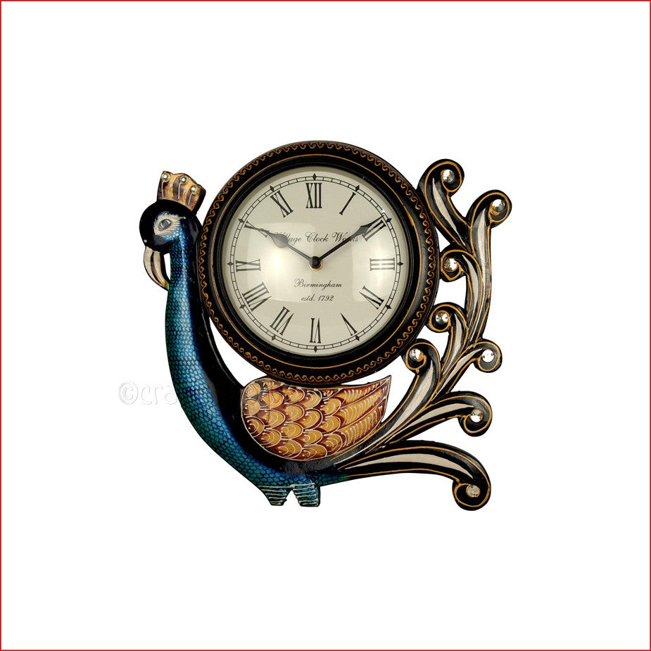 Crafts in vogue - Timeless Beauty - Dancing Peacock Wall Clock