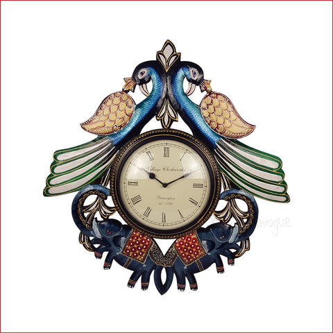 Boundless Glory – Peacock and elephant wall clock - Front