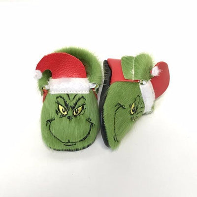 Grinch baby moccasins by Olive & Bean