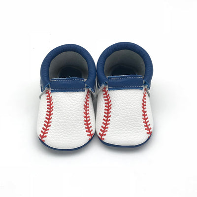Baseball baby moccasins by Olive & Bean