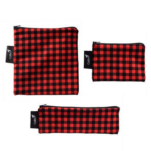 Plaid Snack Bag Set