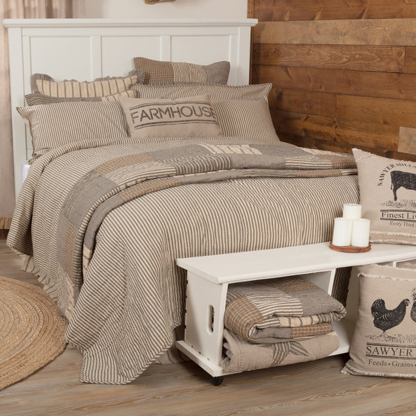 Sawyer Mill Charcoal Ticking Stripe Coverlet Collection