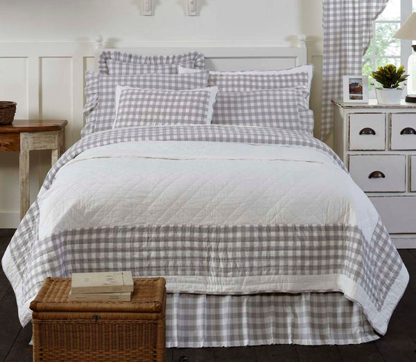 Annie Grey Check Bedding Collection