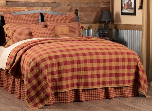 Burgundy Check Coverlet Collection