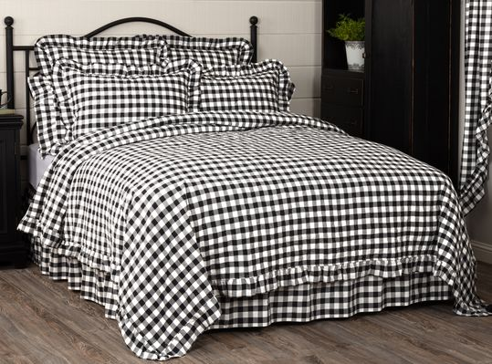 Annie Black Check Ruffled Bedding Collection