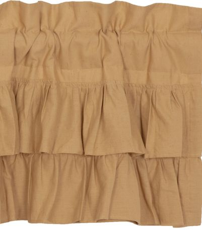 Simple Life Flax Khaki Ruffled Window Treatments