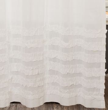 White Ruffled Sheer Shower Curtain
