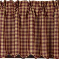 Burgundy Check Scalloped Window Treatments