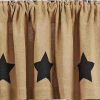 Burlap Natural Black Stencil Star Window Treatments