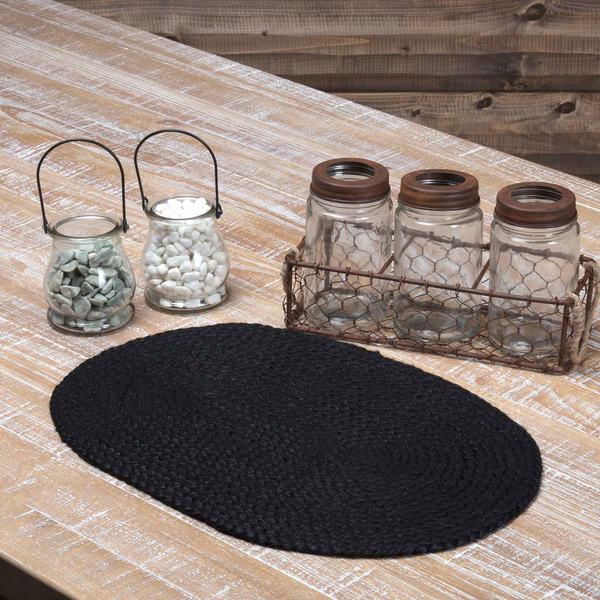 Black Braided Jute Table