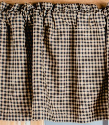 Black and Tan Checkered Window Treatments