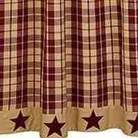 Burgundy Farmhouse Star Shower Curtain