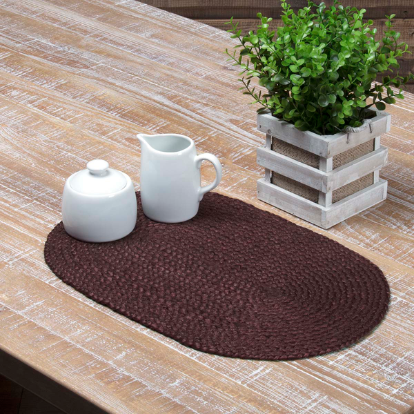 Burgundy Braided Jute Table