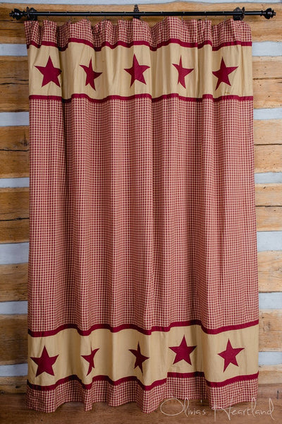 Burgundy and Tan Shower Curtain