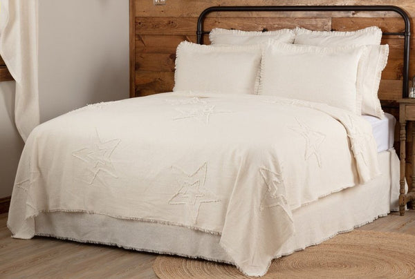 Burlap Antique White Star Bedding Collection