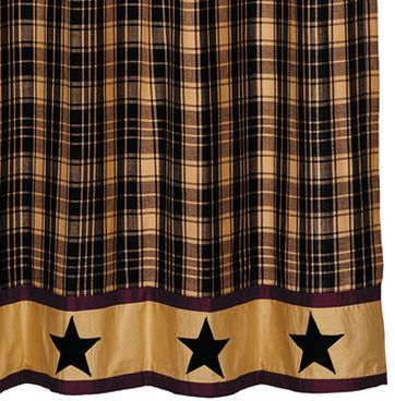 Heritage Star Black Shower Curtain