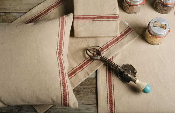 Grain Sack Red Stripe Table Collection