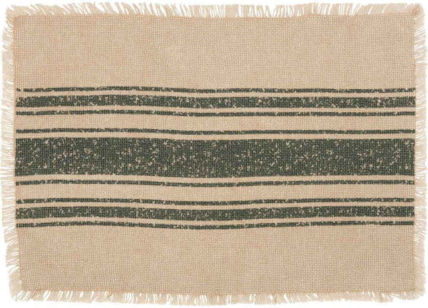 Vintage Burlap Stripe Green Table Collection