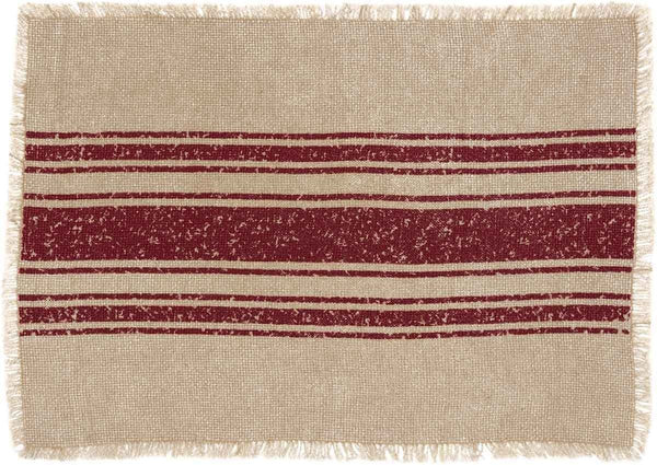 Vintage Burlap Stripe Red Table Collection