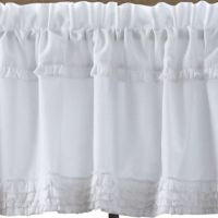 White Ruffled Sheer Window Treatments