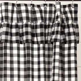 Annie Black Check Ruffle Shower Curtain