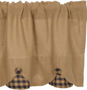 Burlap with Navy Check Window Treatments