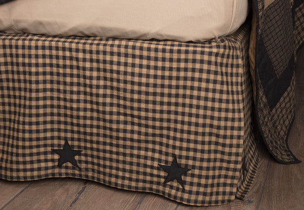 Black Check Star Bed Skirts