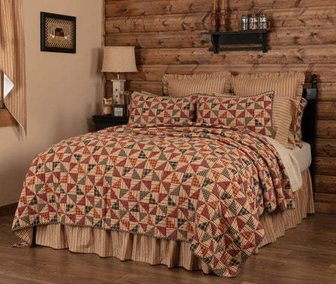 Pinwheel Primitive Country Farmhouse Quilted Bedding