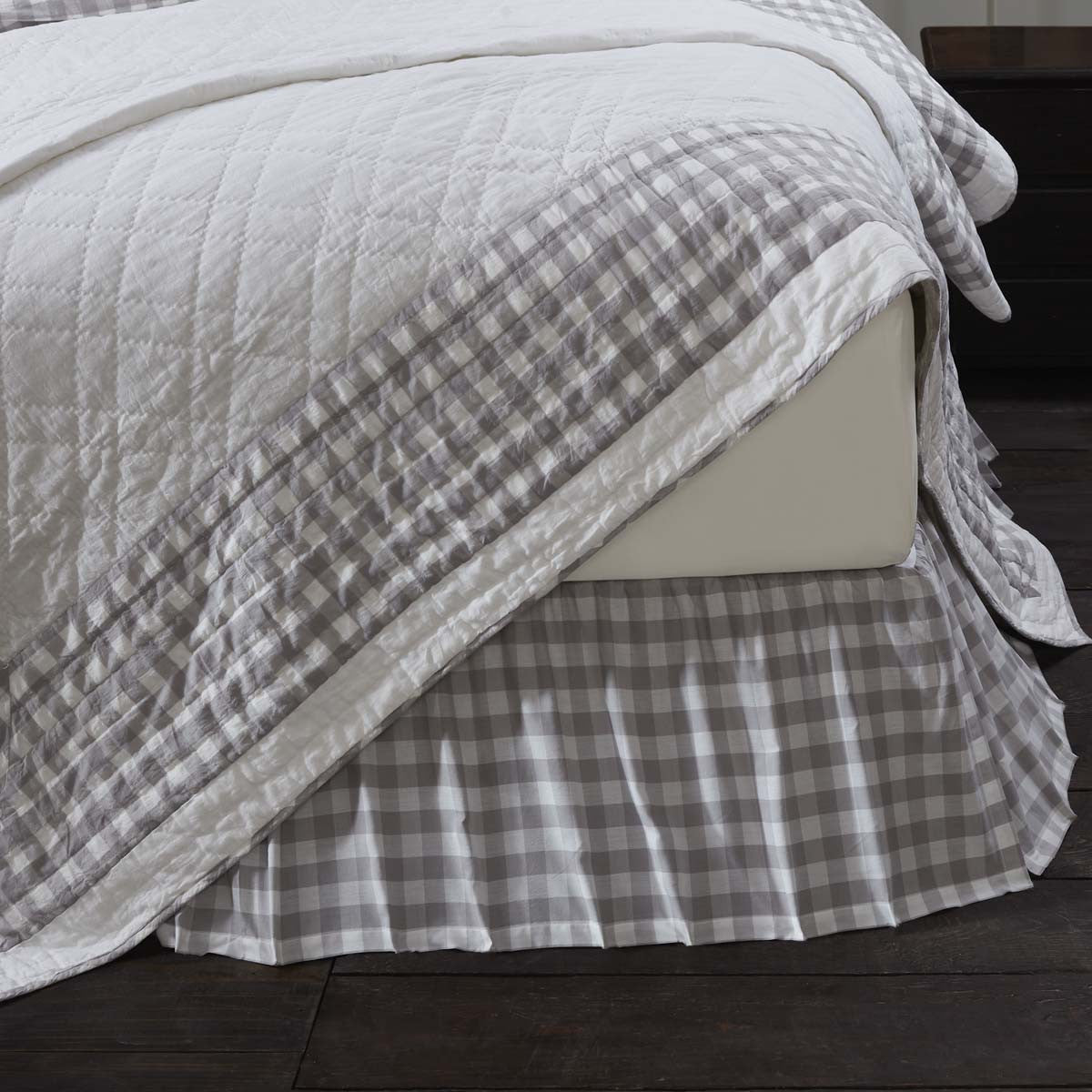 Annie Buffalo Grey Check King Bed Skirt 78x80x16 Allysons Place