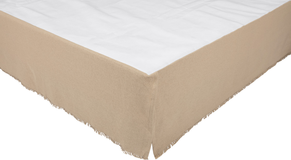 Burlap Vintage Fringed King Bed Skirt 78x80x16 Allysons Place