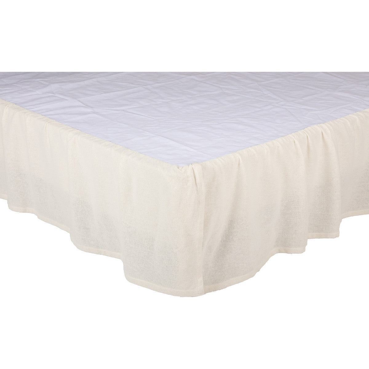 Burlap Antique White Ruffled King Bed Skirt 78x80x16 Allysons Place