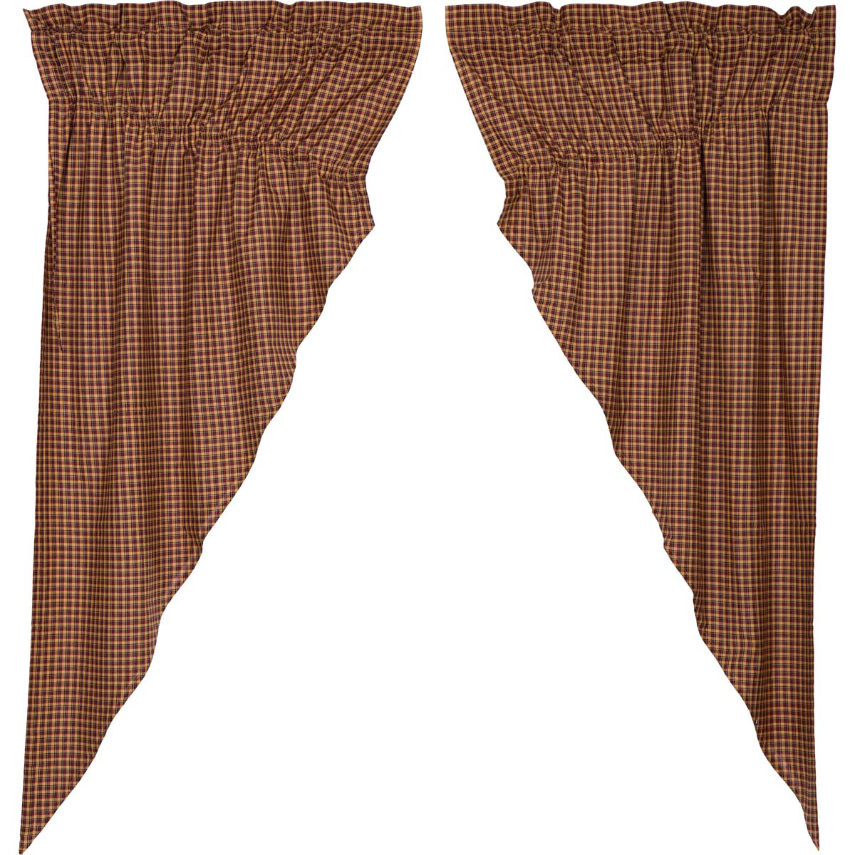 Patriotic Patch Plaid Prairie Curtains Scalloped 63 In Primitive Country Farmhouse Americana Window Treatments