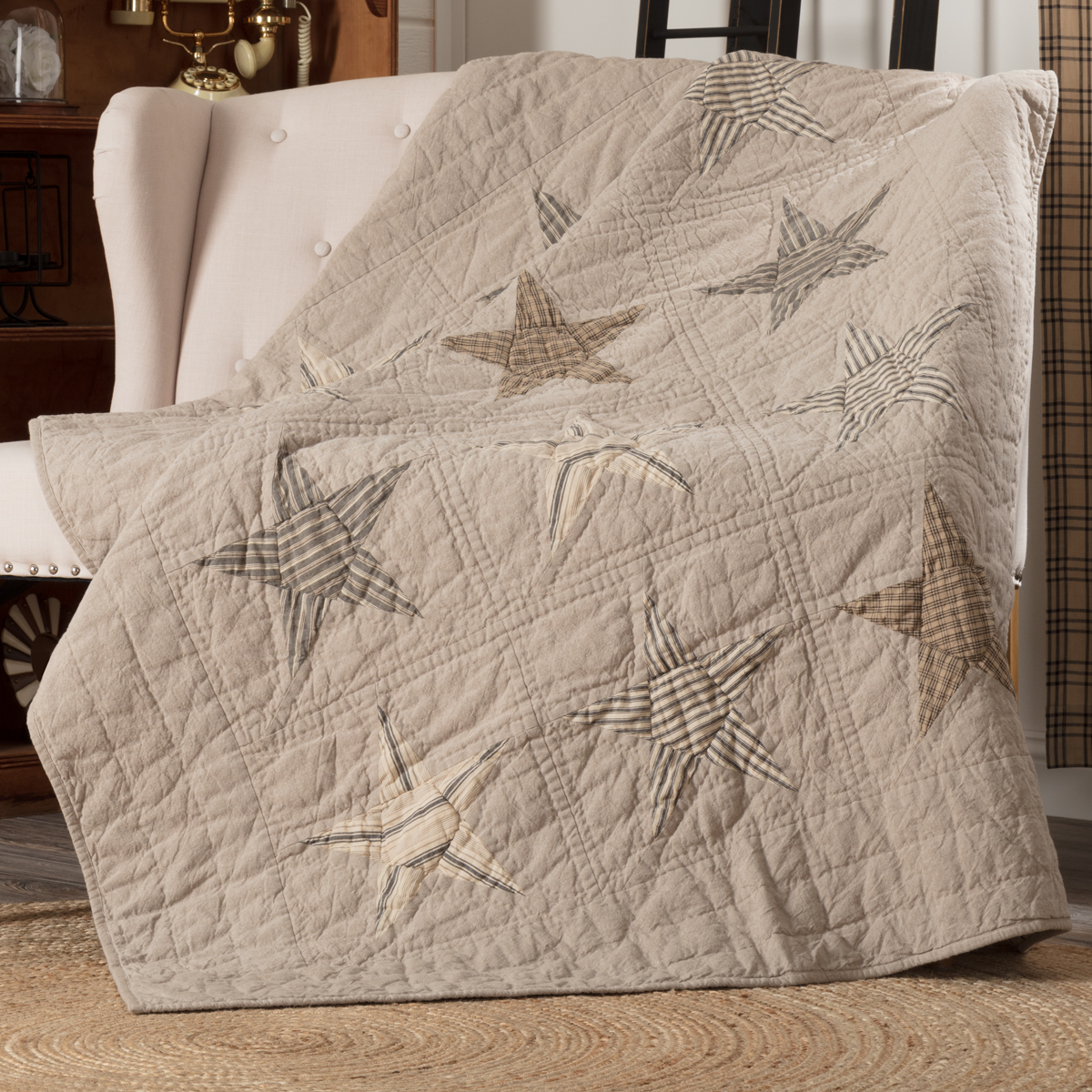 Sawyer Mill Star Charcoal Quilted Throw 60x50 Allysons Place