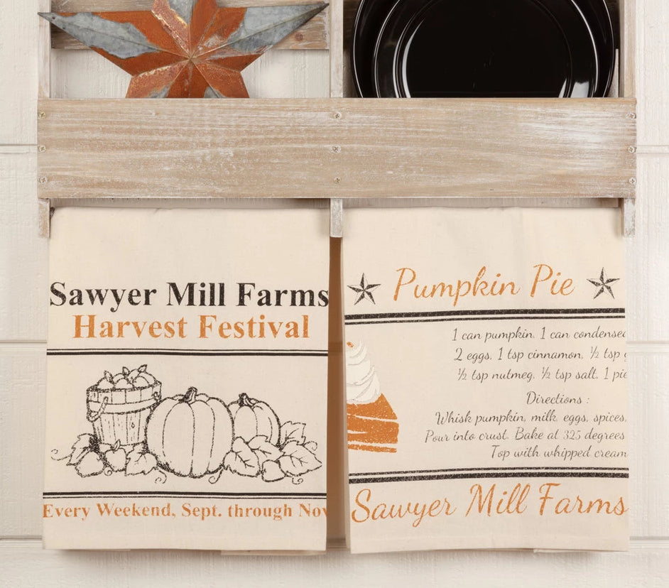Sawyer Mill Charcoal Harvest Muslin Unbleached Natural Tea Towel Set O Allysons Place