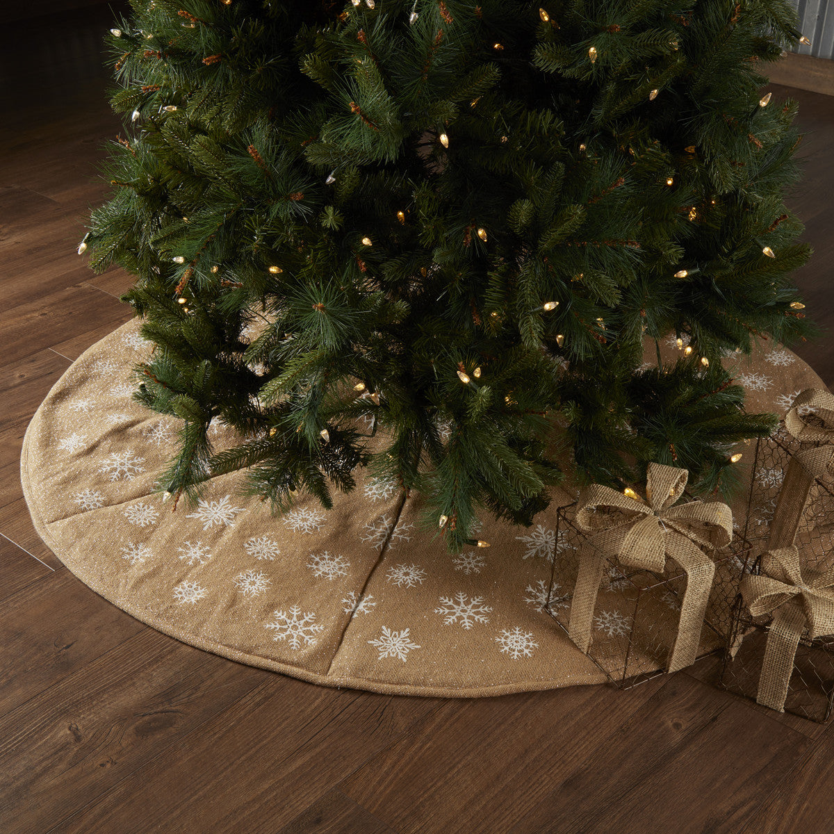 Snowflake Burlap Natural Tree Skirt 60 Allysons Place