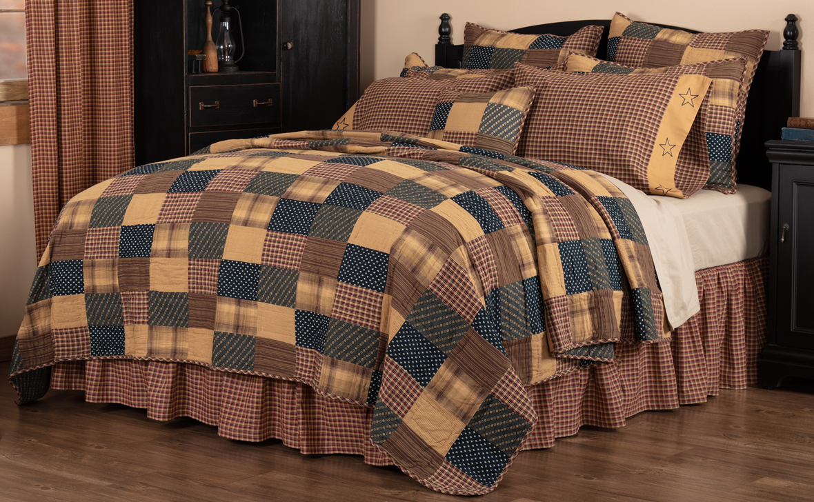 FARMHOUSE COUNTRY PRIMITIVE PATRIOTIC PATCH PATCHWORK QUILTED BEDDING COLLECTION