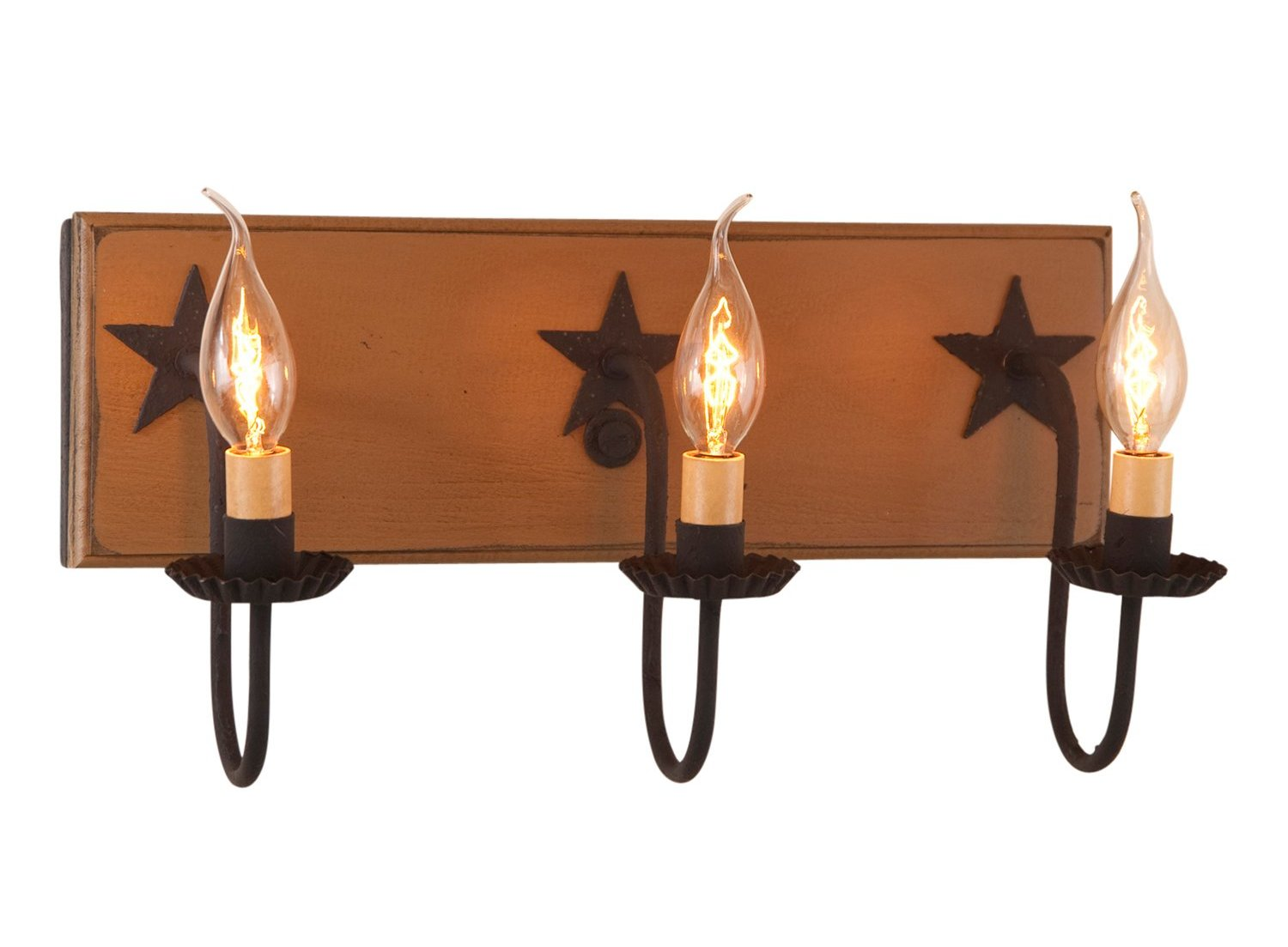 3-Arm Country Vanity Light Bar with Stars - Allysons Place