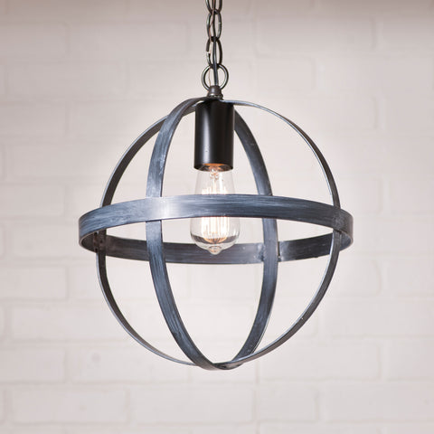 Country primitive pendant lights 12 inch strap sphere pendant in black