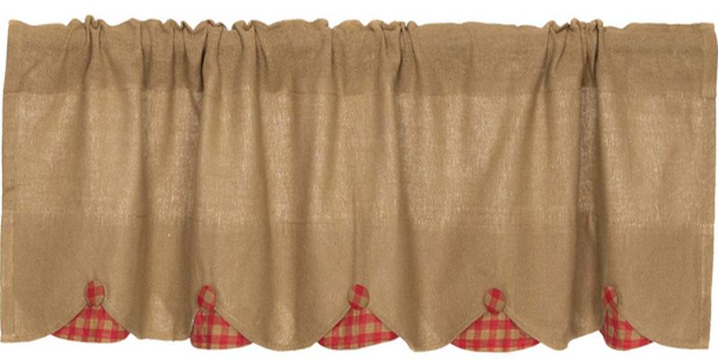 Red And Grey Valance Part - 19: Burlap w-Red Check Scalloped Valance 16x72, Primitive Country Farmhouse  Window Treatments Curtains ...