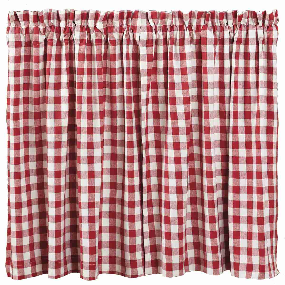 Buffalo Red Check Tiers 36in Primitive Country Farmhouse Window Treatments Curtains Home Decor Accessories