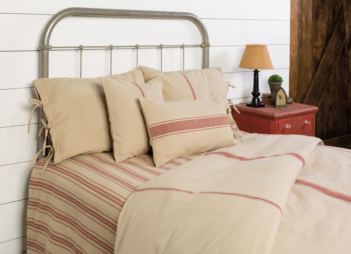 Grain Sack Solid Oat Barn With Red Stripe Duvet Cover Allysons Place